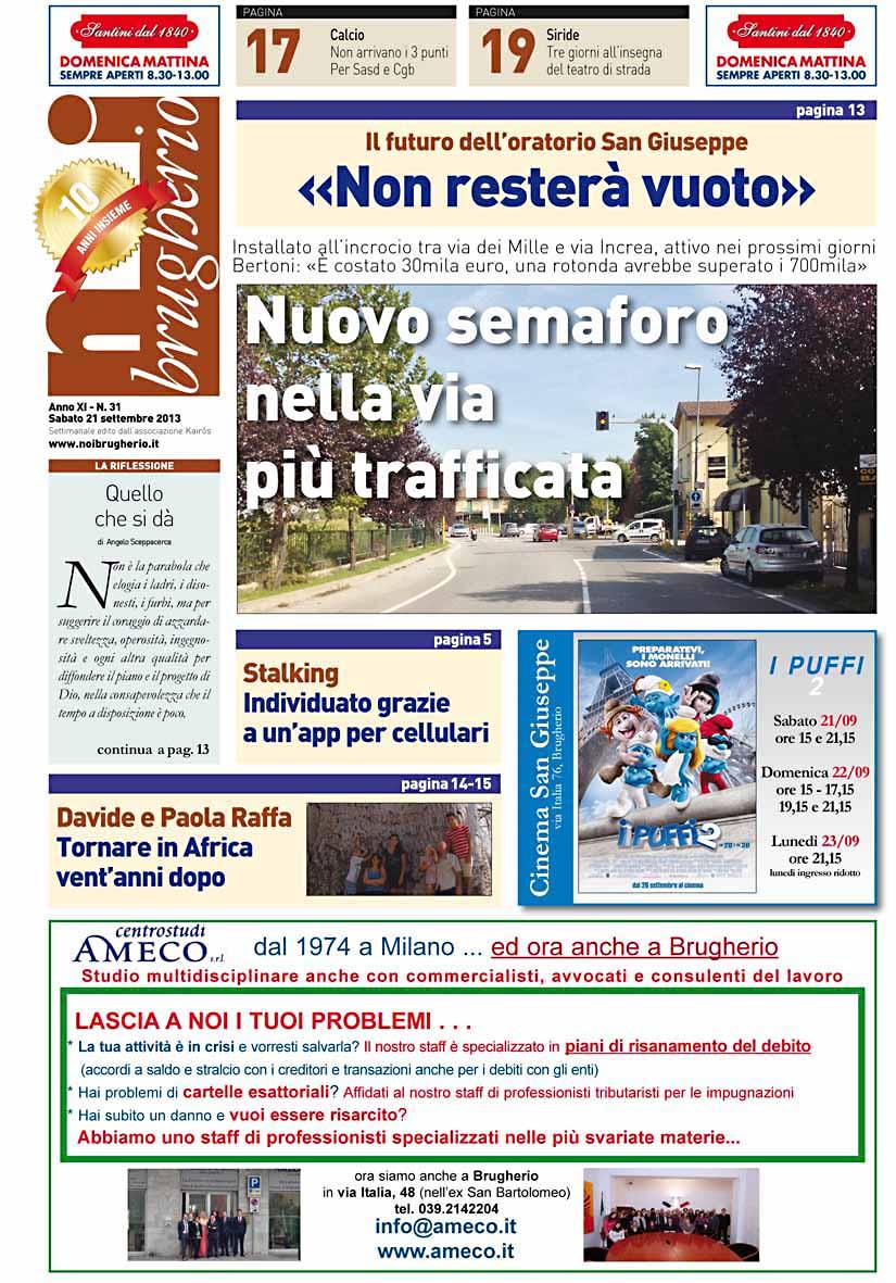Prima pagina del 21 settembre 2013